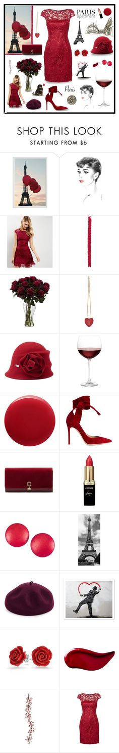 """Paris Red"" by magnolialily-prints ❤ liked on Polyvore featuring Pottery Barn, New Look, Yves Saint Laurent, Betmar, Nordstrom, Oribe, Gianvito Rossi, Louise et Cie, L'Oréal Paris and Charles Jourdan"