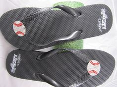 perfect for a baseball mom!  baseball flip-flops!