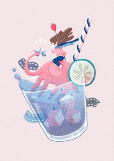 Summer 夏日 on Behance illustration Flat Illustration, Food Illustrations, Graphic Design Illustration, Digital Illustration, Affinity Designer, Watercolor Sketch, Graphic Design Typography, Fabric Painting, Vector Art