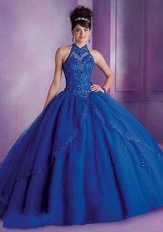 Azul O Rojo De Cuello Halter Organza Ball Gown Hecho A Mano Quinceañera Vestidos Personalizado