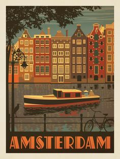 Anderson Design Group – World Travel – Paesi Bassi: Amsterdam Vintage Travel Posters, Vintage Postcards, Poster Art, Poster Prints, Art Prints, Vintage Hawaii, Room Posters, Retro Illustration, Photo Wall Collage