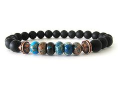 I am amazed by this artists work. -Randy  Men's Beaded Stretch Bracelet  Onyx and Jasper by RockAndHardware, $30.00