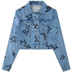 être cécile Star Embroidery Crop Denim Jacket (18.335 RUB) ❤ liked on Polyvore featuring outerwear, jackets, star jacket, collar jacket, blue jackets, blue denim jacket and blue cropped jacket