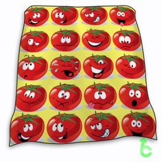 funny Tomato Face Expressions Icons Blanket