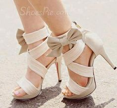 #Gorgeous #White Coppy Leather #Cut-Outs High #Heel #Sandals with Amazing #Bowtie from Shoespie.com