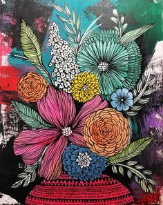 Original painting by Alisa Burke Acrylic on stretched canvas Measures 16 x 20 596093700664382402 Mural Painting, Mural Art, Art Paintings, Art Floral, Original Art, Original Paintings, Painting Inspiration, Colour Inspiration, Flower Art