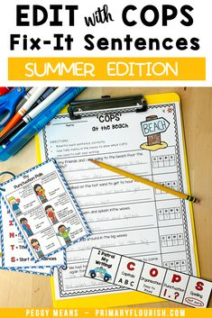 Wouldn't it be great if your students remembered to add capital letters at the beginning of their sentences and punctuation at the end? COPS will help them do that! Edit Writing with COPS is an engaging, effective way for students to remember how to edit their own writing! These NO PREP Summer-themed stories have three options to allow you to easily differentiate for your students. Perfect for first, second, third grade students. #editwithCOPS