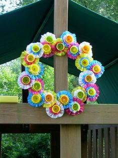 Wreath from plastic tablecloths and Play Doh containers