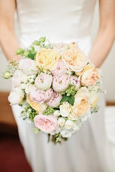 Pink peach white wedding flowers