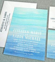 blue ombre wedding invitations | via emmalinebride.com
