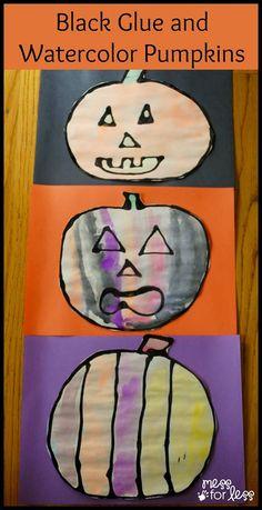 Black Glue and Watercolor Pumpkins