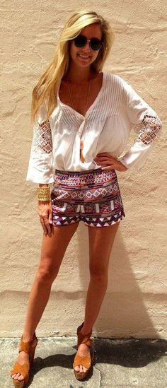 aztec #fashion #summer #shorts #vacation #aztec