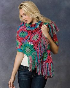 Free Crochet Pattern Lorelei Shawl From RedHeart.com think this would make a better afghan than a shawl