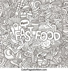 212 Best Food Coloring Pages Images On Pinterest Coloring Pages - Coloring-page-food