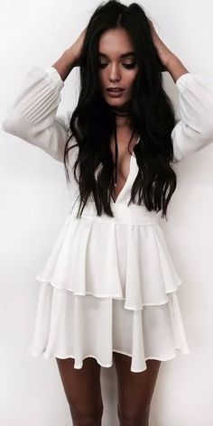#summer #princesspollyboutique #outfits | White Romantic Dress