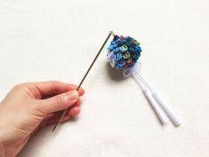 Kanzashi hair stick flower ball dangle type