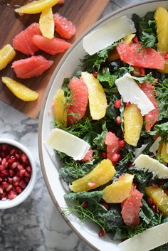 Kale Salad with Grapefruit, Oranges, Pomegranate Seeds, and Parm