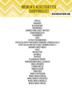 Day Fix Aldi Meal Plan And Shopping List   Aldi Shopping