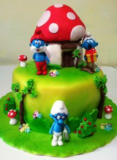 The Smurfs - by giada @ CakesDecor.com - cake decorating website