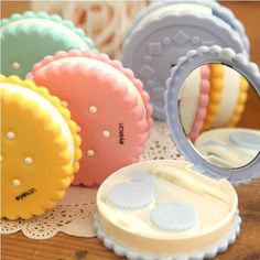 2013 Novelty Cute Contact Lens Case Simulating Cookie Cake Lenses Box With Mirror  Storage Set US $5.19