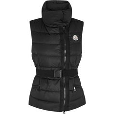Womens Waistcoats & Gilets Moncler Labas Black Quilted Shell Gilet (£440) ❤ liked on Polyvore featuring outerwear, vests, black waistcoat, black zipper vest, zip vest, padded vest and black zip vest