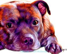 Staffie Art Print - 10x8 Staffordshire Bull Terrier Art
