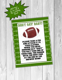 Football Baby shower games don't say baby large sign Printable INSTANT DOWNLOAD  UPrint  by greenmelonstudios football sports baby shower by greenmelonstudios on Etsy