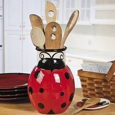Ladybug Kitchen Decor | Red Ceramic Ladybug Utensil Holder Kitchen Decor | eBay