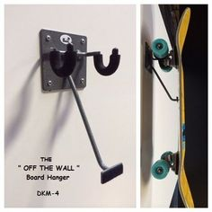 "Longboard Discover DKMounts "" Off The Wall "" Skateboard hanger. The keeps board off the floor and wheels off the wall."