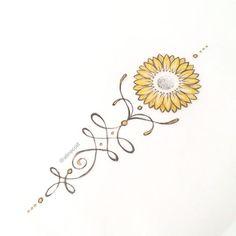 • G I R A S S O L • #goldtattoo #sunflower #sunflowertattoo #unalome #unalometattoo #unalome #jewelrytattoo #rustictattoo