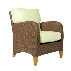 The Curacao Club Chair, Teak & Resin Weave from Walters Wicker Exterior Collection.