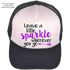 9aa6d09fe81 Black   White Trucker Hat - Leave A Little Sparkle - Trucker Cap -  Monogrammed Trucker Hat - Baseball Cap - Personalized Ball Cap - Fashion by  ...