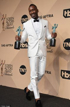 Dapper gent: Moonlight star Mahershala Ali won Outstanding Supporting Actor for his role