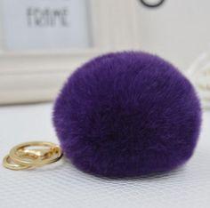 1PCS P&J Fashion New Design Factory Price Fake Fur Key Chain Faux Fur Keychain Keyring Key Ring Fake Rabbit Fur Pompom Accessory