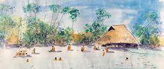 Minnie Valero: SAMOA BEACH SKETCH, ink and watercolor