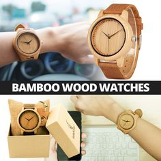 Bamboo Wood Watches Fashion Casual Leather Fashion Watches, Wood Watch, Leather Case, Bamboo, Quartz, Casual, Accessories, Style, Wooden Clock
