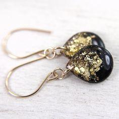 black teardrop earrings on 14k gold fill earwires - glitter earrings drop earrings