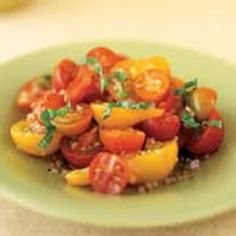 The cherry tomato is a great source of lycopene, an antioxidant that may help prevent cancer and cardiovascular disease. Lycopene is found in deep yellow, dark green and red fruits and vegetables. The combination of different cherry tomatoes makes this salad so colorful and isn't it amazing that each has their own distinct flavor. This is also summery, refreshing and easy to make.