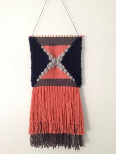 Woven Wall Hanging / Weaving / Tapestry - Large X with greys, navy, & salmon Handwoven Tapestry