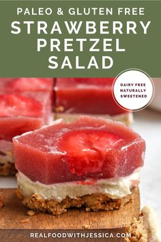 Paleo Strawberry Pretzel Salad is a grain free version of the classic dessert. A pecan crust, dairy free cheesecake layer and homemade strawberry jello topping. It's fresh, delicious and gluten free, dairy free and naturally sweetened. #paleo #healthy #easyrecipe #dairyfree | realfoodwithjessica.com @realfoodwithjessica Best Paleo Recipes, Best Dessert Recipes, Dairy Free Recipes, Paleo Pretzels, Paleo Treats, Pretzel Desserts, Fun Desserts, Holiday Desserts, Paleo Dessert