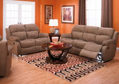 Omega Mocha Microsuede Reclining Sofa, Loveseat and Chair Package