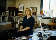 French Cartoonist Claire Bretecher in Her Study at Home