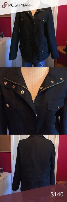 Ralph Lauren nylon jacket Sz M Classy RL black nylon jacket with gold accents.  Waist cincher on inside of jacket.  Sz M. Great condition!!! Ralph Lauren Jackets & Coats Utility Jackets