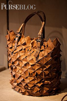 Bottega Veneta Cigar Origami Plume Leather Tejus Bag - $8,500