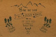 Rustic Custom HandIllustrated Mountain Save the by LilyCoDesign, $15.00