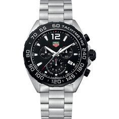 TAG Heuer Formula One CAZ1010.BA0842 Mens 43mm Quartz Chronograph... ($1,195) via Polyvore featuring men's fashion, men's jewelry, men's watches, mens quartz watches, mens watches jewelry, mens chronograph watch, tag heuer men's watches and mens watches