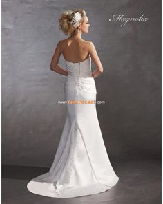 Strapless Sheath Ruched Applique White Satin Wedding Gowns 2013