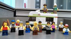 Desk decor! (L-R) Lori, Glen, Beth, Merle, Carol, Andrea, Shane, Daryl, Maggie, Herschel and Carl. Rick and Dale are on top of the camper! #TWD #The Walking Dead #Lego