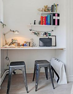 space saving small home office design in a wall niche decorated with white paint