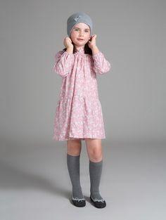 Papillon Rose Garden Drop Waist Dress | Papillon rose garden drop waist dress with mini ruffled collar and cuffs | Mi Pequeño Lucas | Made in Spain